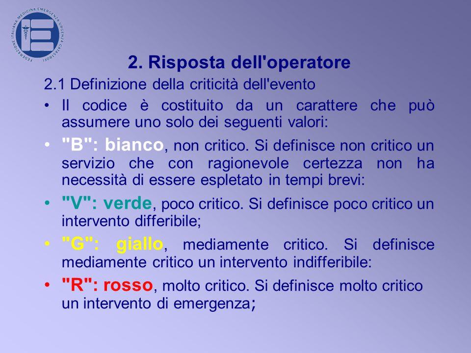 2. Risposta dell'operatore 2.1 Definizione della criticità dell'evento Il codice è costituito da un carattere che può assumere uno solo dei seguenti v