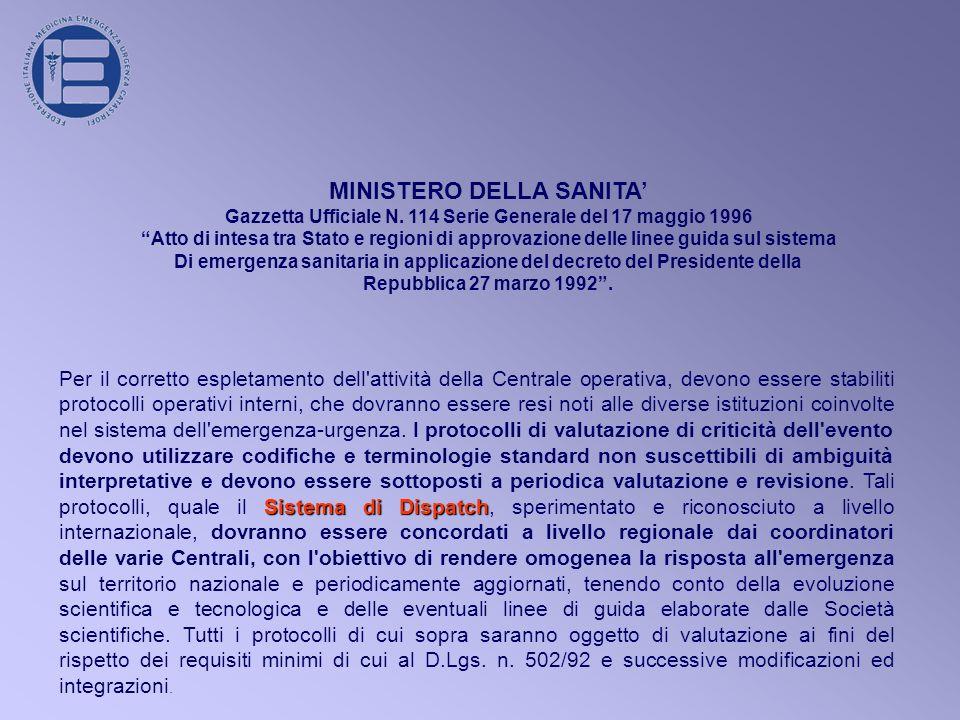 MINISTERO DELLA SANITA Gazzetta Ufficiale N.