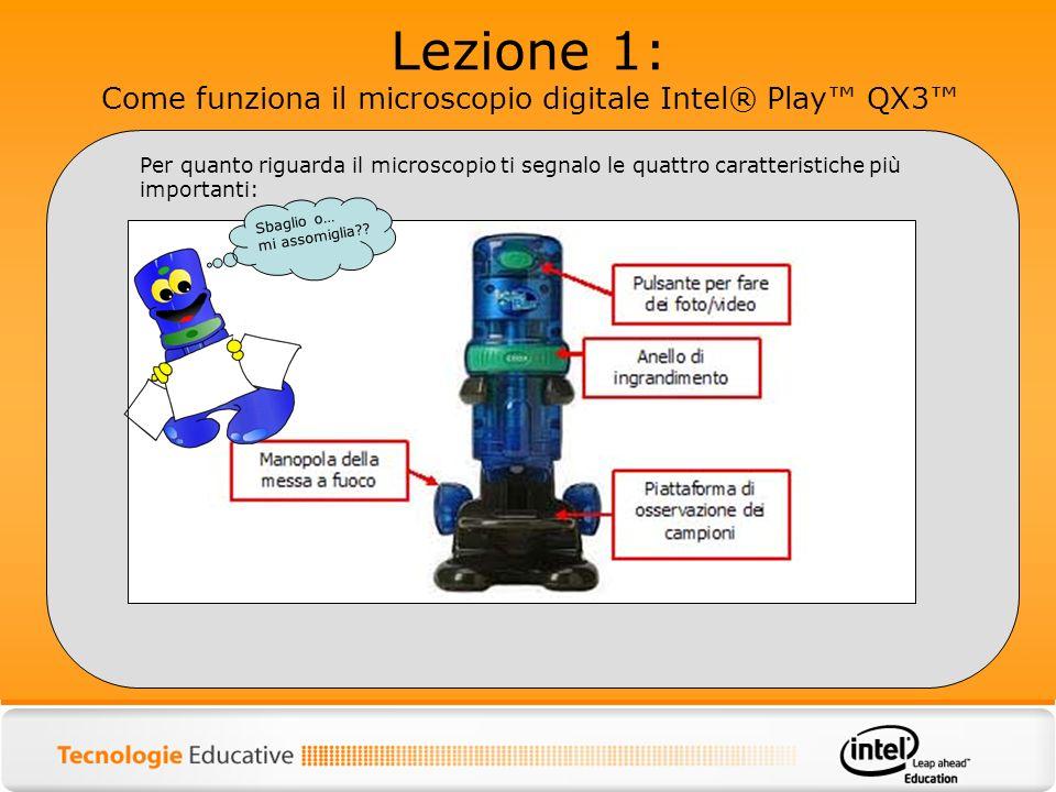Lezione 1: Come funziona il microscopio digitale Intel® Play QX3 Per quanto riguarda il microscopio ti segnalo le quattro caratteristiche più importan
