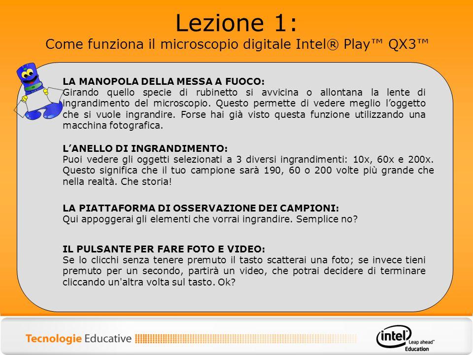 Lezione 1: Come funziona il microscopio digitale Intel® Play QX3 LA MANOPOLA DELLA MESSA A FUOCO: Girando quello specie di rubinetto si avvicina o all
