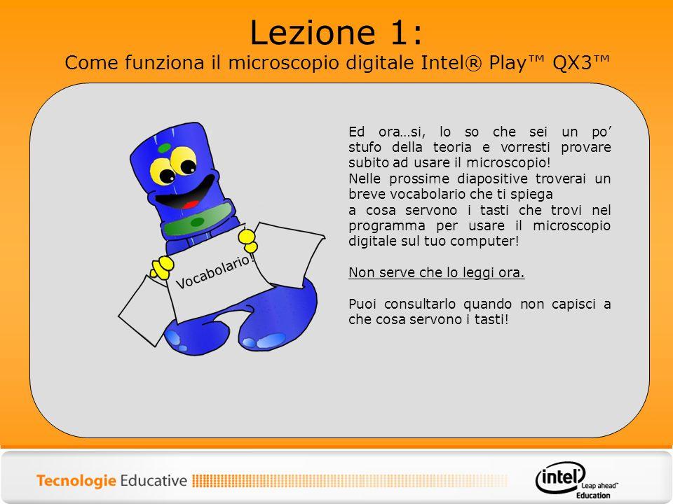Lezione 1: Come funziona il microscopio digitale Intel® Play QX3 Ed ora…si, lo so che sei un po stufo della teoria e vorresti provare subito ad usare