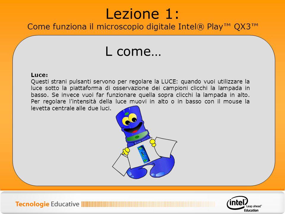 Lezione 1: Come funziona il microscopio digitale Intel® Play QX3 Luce: Questi strani pulsanti servono per regolare la LUCE: quando vuoi utilizzare la