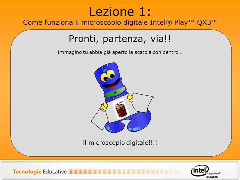Lezione 1: Come funziona il microscopio digitale Intel® Play QX3 Per ora, lascia un attimo da parte il microscopio (aspetta ad attaccarlo al computer, non funzionerebbe!!!) e prendi il cd che trovi allinterno del pacco.