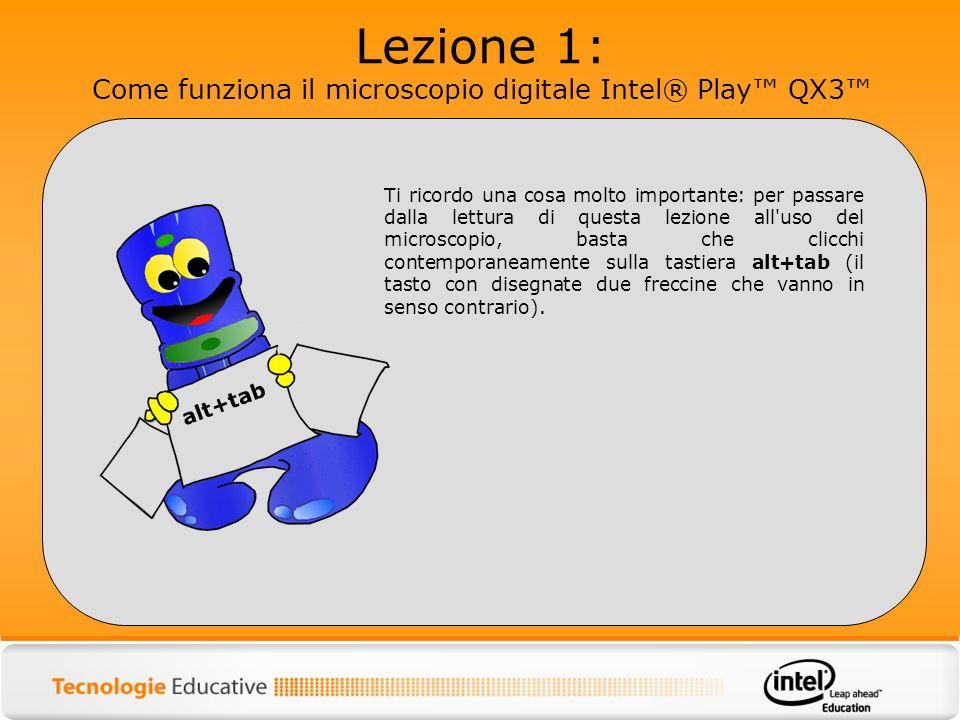 Lezione 1: Come funziona il microscopio digitale Intel® Play QX3 Ti ricordo una cosa molto importante: per passare dalla lettura di questa lezione all