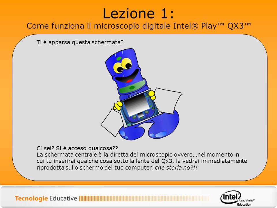 Lezione 1: Come funziona il microscopio digitale Intel® Play QX3 Ti è apparsa questa schermata? Ci sei? Si è acceso qualcosa?? La schermata centrale è