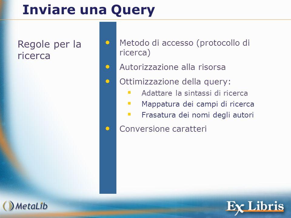 Regole per la ricerca Metodo di accesso (protocollo di ricerca) Autorizzazione alla risorsa Ottimizzazione della query: Adattare la sintassi di ricerc