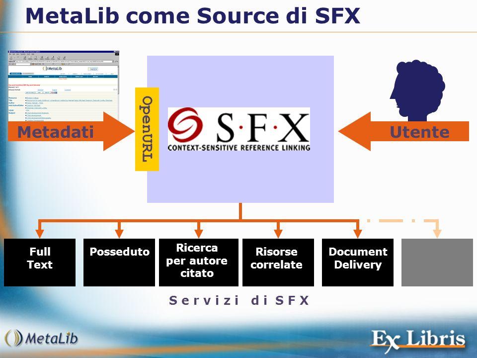 Full Text PossedutoDocument Delivery Risorse correlate Ricerca per autore citato S e r v i z i d i S F X Utente MetaLib come Source di SFX Metadati Op