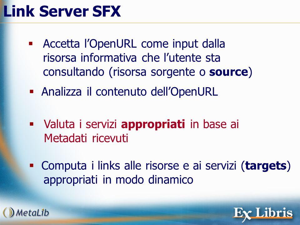 Link Server SFX Accetta lOpenURL come input dalla risorsa informativa che lutente sta consultando (risorsa sorgente o source) Computa i links alle ris