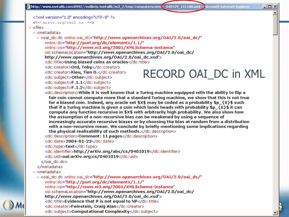 RECORD OAI_DC in XML