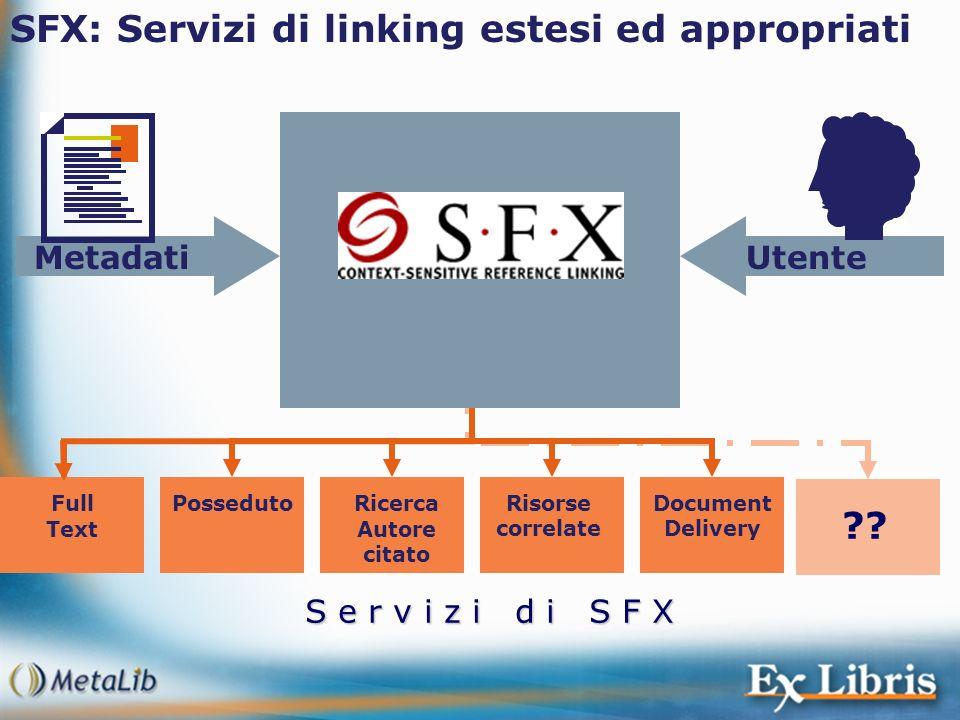 S e r v i z i d i S F X SFX: Servizi di linking estesi ed appropriati UtenteMetadati Full Text PossedutoDocument Delivery Risorse correlate Ricerca Au