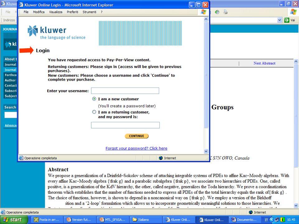 Risultato: un sistema funzionante che consente di accedere alle risorse dellIstituzione dalla maschera ricerca di MetaLib o attraverso link diretti Risultato: graduale arricchimento del sistema per la fornitura agli utenti di servizi aggiuntivi Risultato: un sistema funzionante che consente di accedere a risorse pre-configurate I Installazione di MetaLib e del suo KnowledgeBase localizzazione delle risorse di interesse Catalogazione delle risorse dellistituzione II III Configurazione di ulteriori risorse dellIstituzione per ricercarle attraverso MetaLib Implementare MetaLib