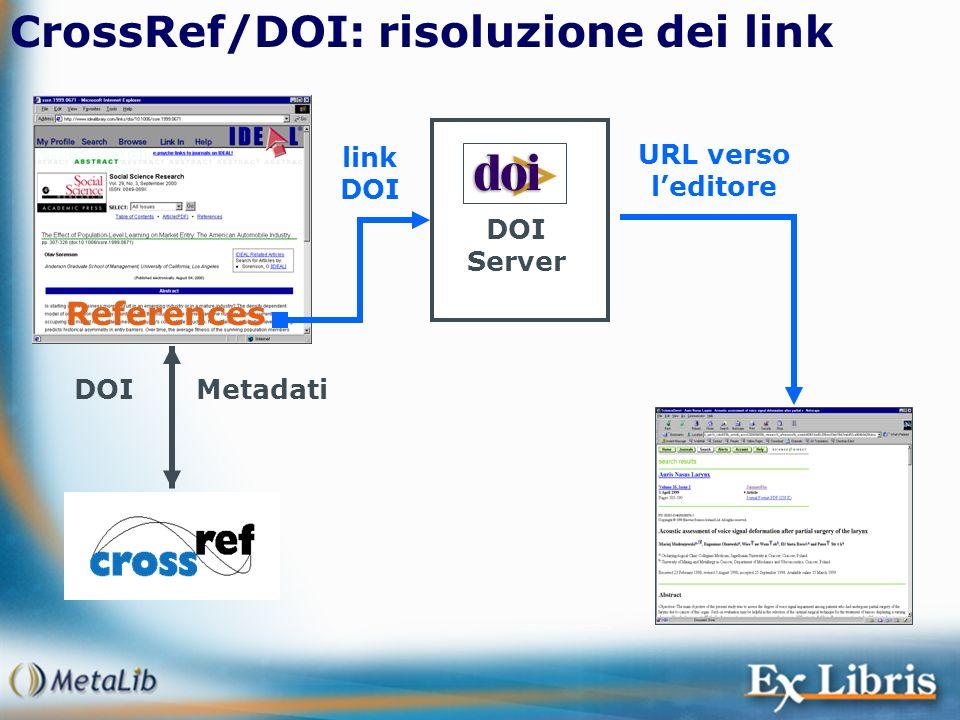 CrossRef/DOI: risoluzione dei link References MetadatiDOI DOI Server link DOI URL verso leditore