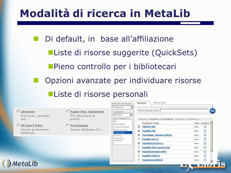Di default, in base allaffiliazione Liste di risorse suggerite (QuickSets) Pieno controllo per i bibliotecari Opzioni avanzate per individuare risorse