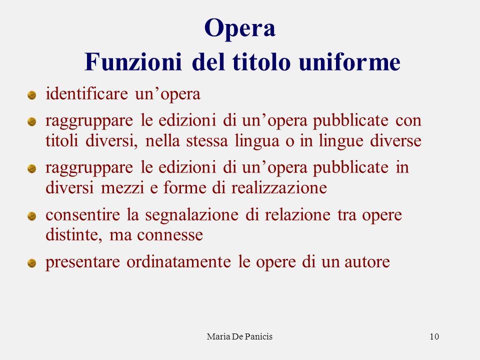 Maria De Panicis10 Opera Funzioni del titolo uniforme identificare unopera raggruppare le edizioni di unopera pubblicate con titoli diversi, nella ste