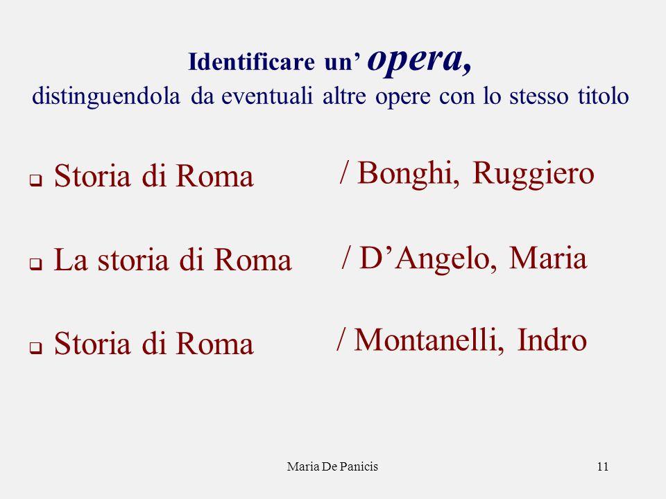 Maria De Panicis11 Identificare un opera, distinguendola da eventuali altre opere con lo stesso titolo Storia di Roma La storia di Roma Storia di Roma