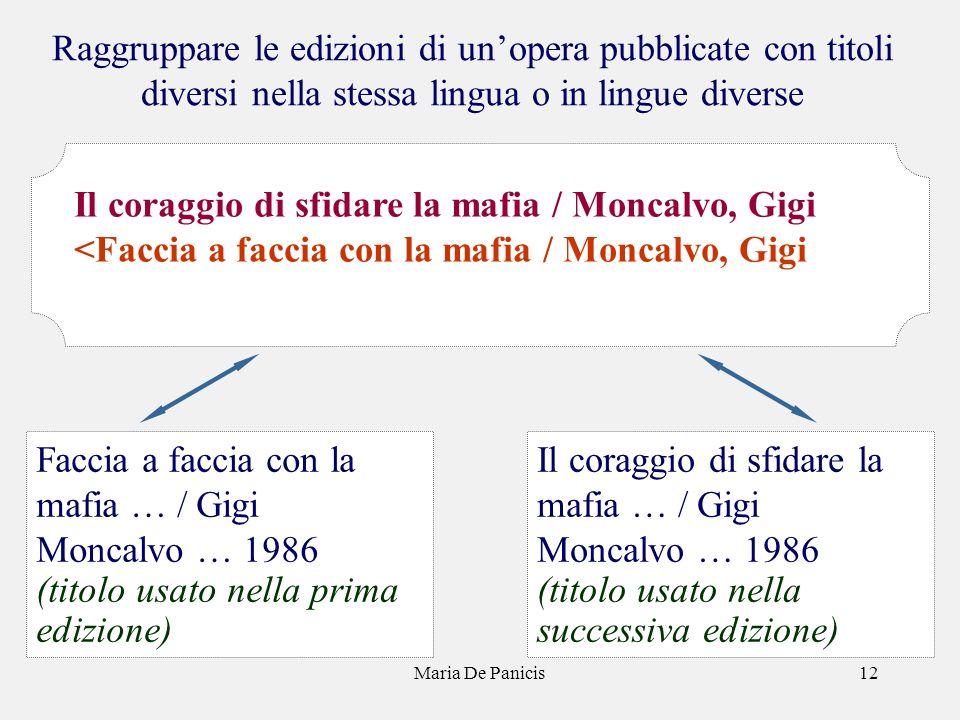 Maria De Panicis12 Raggruppare le edizioni di unopera pubblicate con titoli diversi nella stessa lingua o in lingue diverse Il coraggio di sfidare la