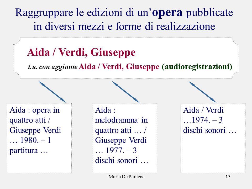 Maria De Panicis13 Raggruppare le edizioni di un opera pubblicate in diversi mezzi e forme di realizzazione Aida / Verdi …1974. – 3 dischi sonori … Ai