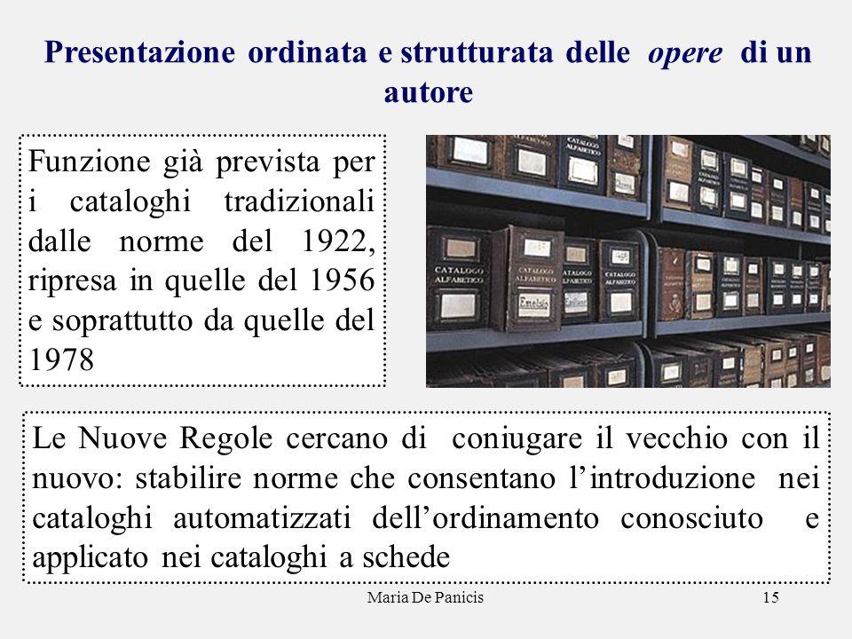 Maria De Panicis15 Presentazione ordinata e strutturata delle opere di un autore Funzione già prevista per i cataloghi tradizionali dalle norme del 19