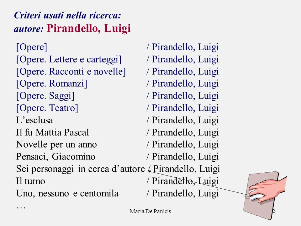 Maria De Panicis32 Criteri usati nella ricerca: autore: Pirandello, Luigi [Opere] / Pirandello, Luigi [Opere.