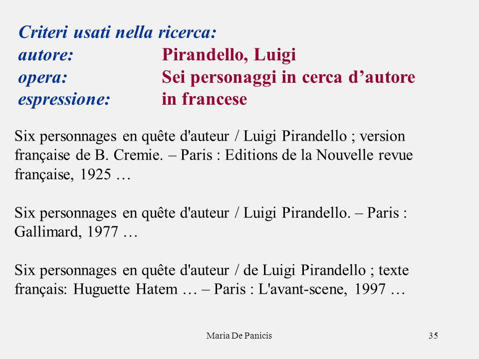 Maria De Panicis35 Criteri usati nella ricerca: autore: Pirandello, Luigi opera: Sei personaggi in cerca dautore espressione: in francese Six personnages en quête d auteur / Luigi Pirandello ; version française de B.