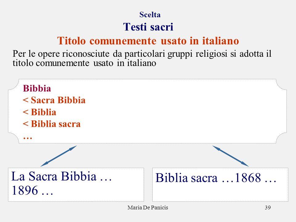 Maria De Panicis39 Scelta Testi sacri Titolo comunemente usato in italiano Per le opere riconosciute da particolari gruppi religiosi si adotta il tito