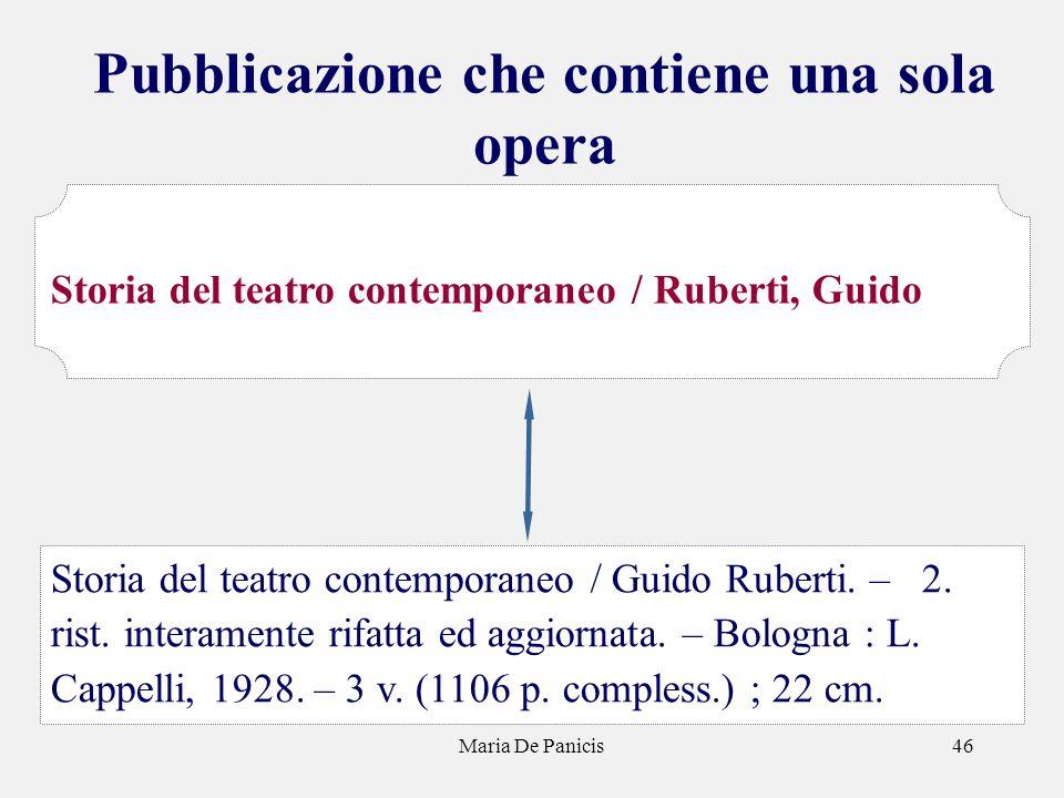 Maria De Panicis46 Pubblicazione che contiene una sola opera Storia del teatro contemporaneo / Guido Ruberti. – 2. rist. interamente rifatta ed aggior