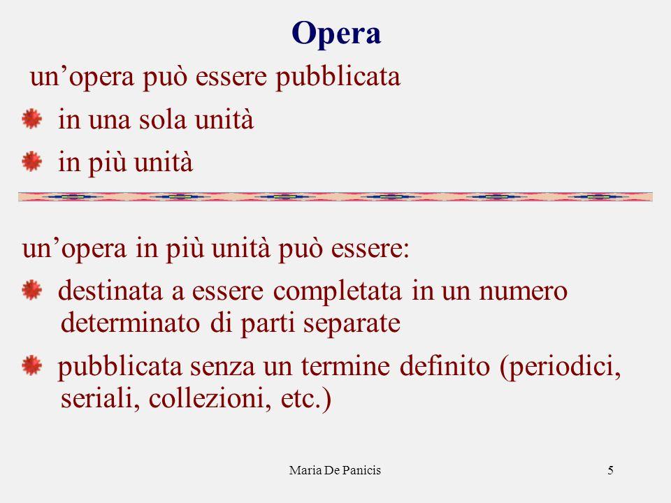 Maria De Panicis5 Opera unopera può essere pubblicata in una sola unità in più unità unopera in più unità può essere: destinata a essere completata in un numero determinato di parti separate pubblicata senza un termine definito (periodici, seriali, collezioni, etc.)