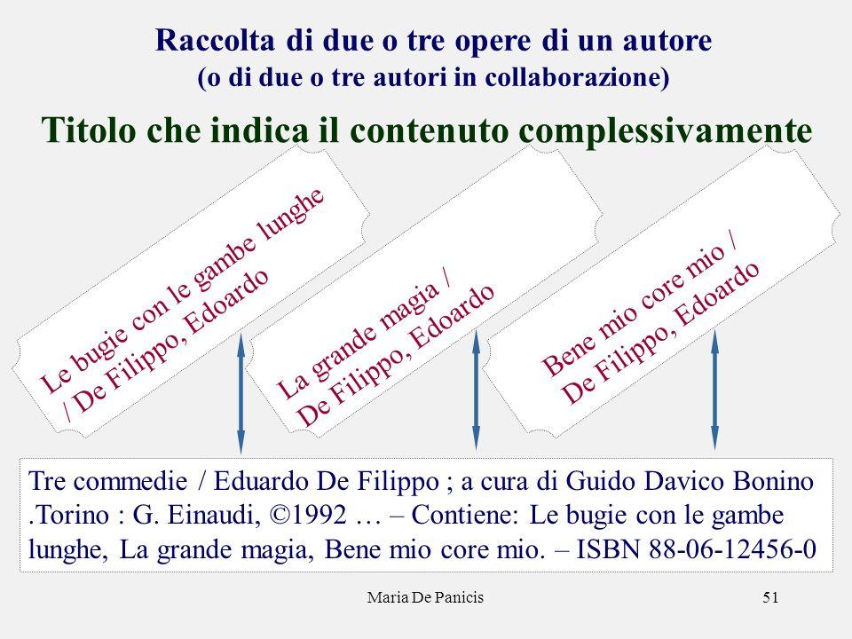 Maria De Panicis51 Raccolta di due o tre opere di un autore (o di due o tre autori in collaborazione) Titolo che indica il contenuto complessivamente Tre commedie / Eduardo De Filippo ; a cura di Guido Davico Bonino.Torino : G.