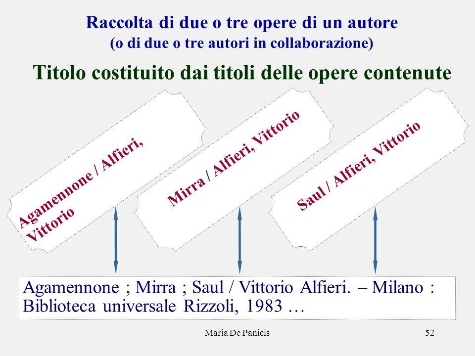 Maria De Panicis52 Raccolta di due o tre opere di un autore (o di due o tre autori in collaborazione) Titolo costituito dai titoli delle opere contenu