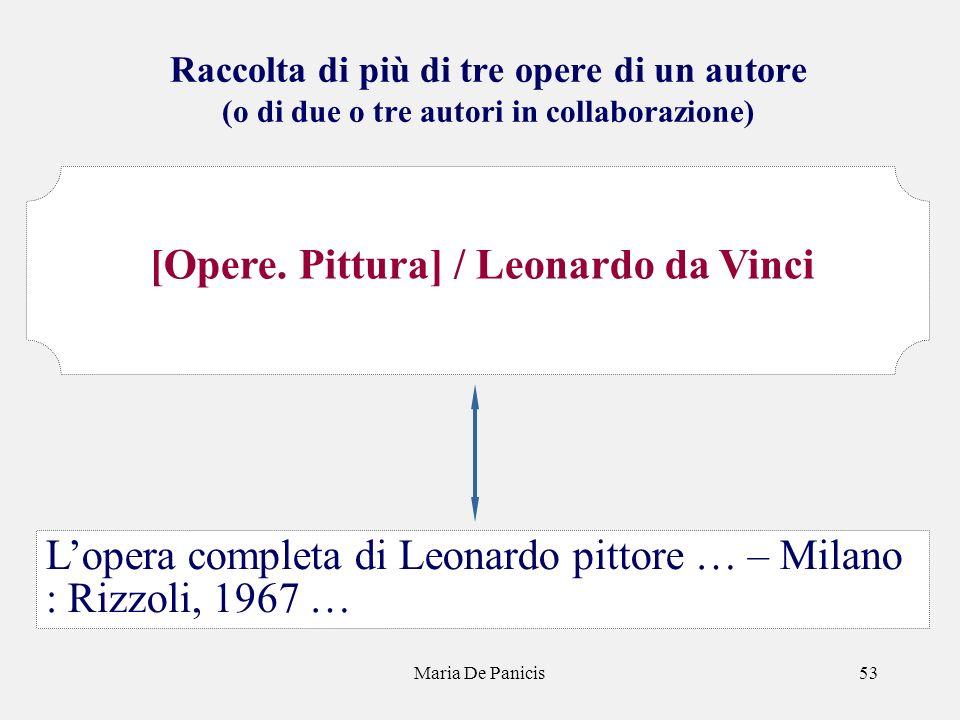 Maria De Panicis53 Raccolta di più di tre opere di un autore (o di due o tre autori in collaborazione) Lopera completa di Leonardo pittore … – Milano : Rizzoli, 1967 … [Opere.