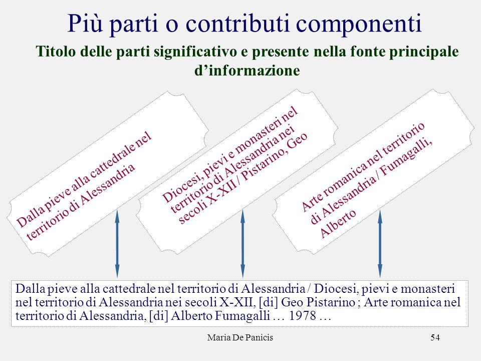 Maria De Panicis54 Più parti o contributi componenti Titolo delle parti significativo e presente nella fonte principale dinformazione Diocesi, pievi e