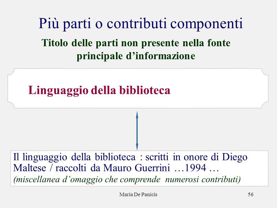 Maria De Panicis56 Più parti o contributi componenti Il linguaggio della biblioteca : scritti in onore di Diego Maltese / raccolti da Mauro Guerrini …