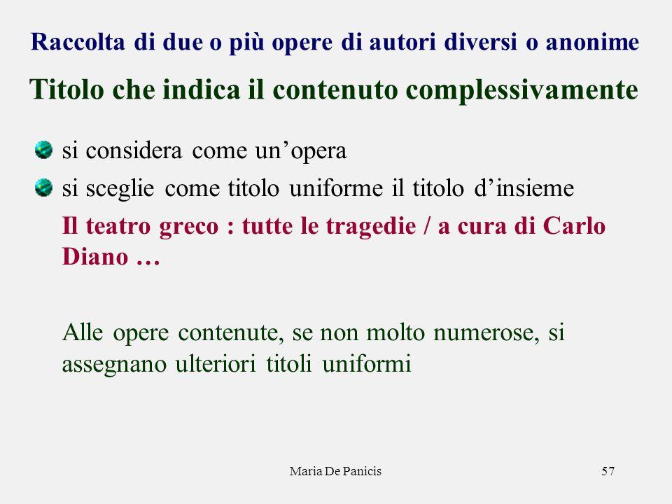 Maria De Panicis57 Raccolta di due o più opere di autori diversi o anonime si considera come unopera si sceglie come titolo uniforme il titolo dinsiem