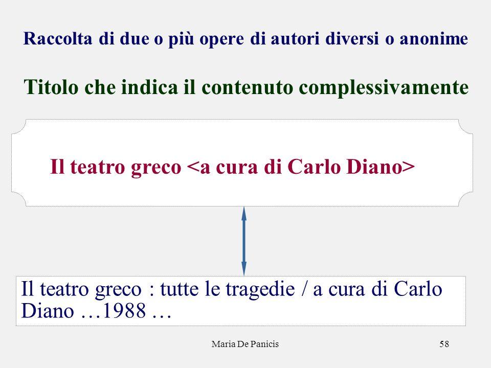Maria De Panicis58 Raccolta di due o più opere di autori diversi o anonime Titolo che indica il contenuto complessivamente Il teatro greco : tutte le