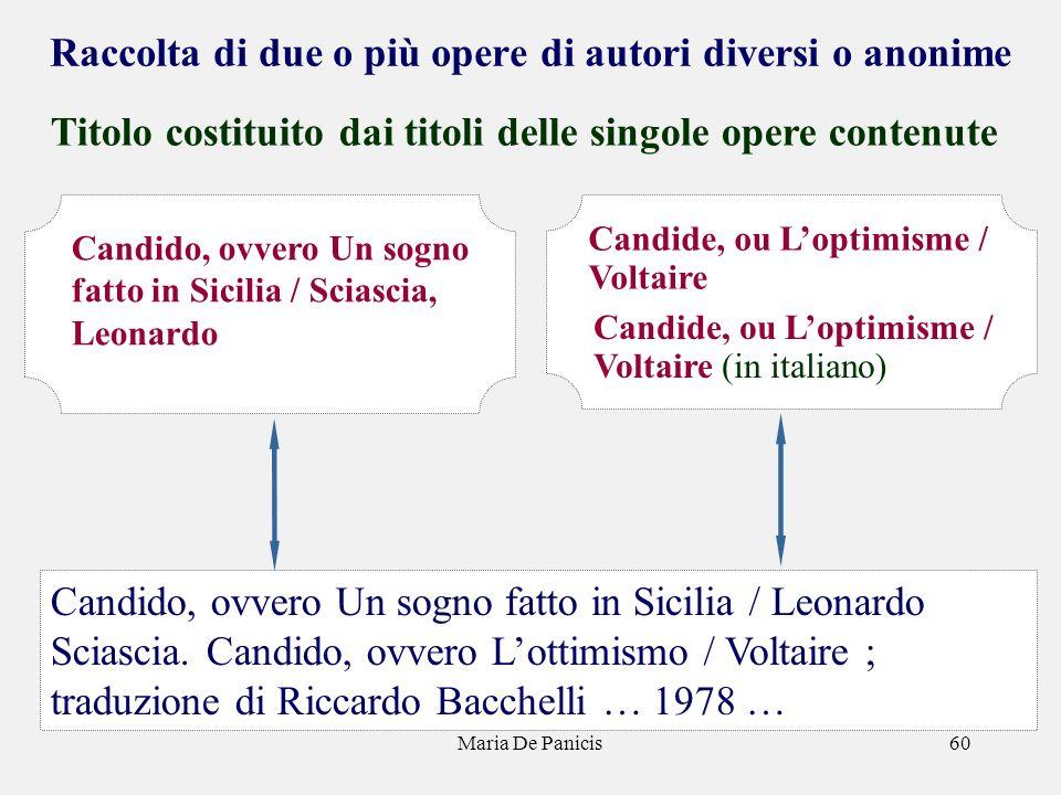 Maria De Panicis60 Raccolta di due o più opere di autori diversi o anonime Titolo costituito dai titoli delle singole opere contenute Candido, ovvero