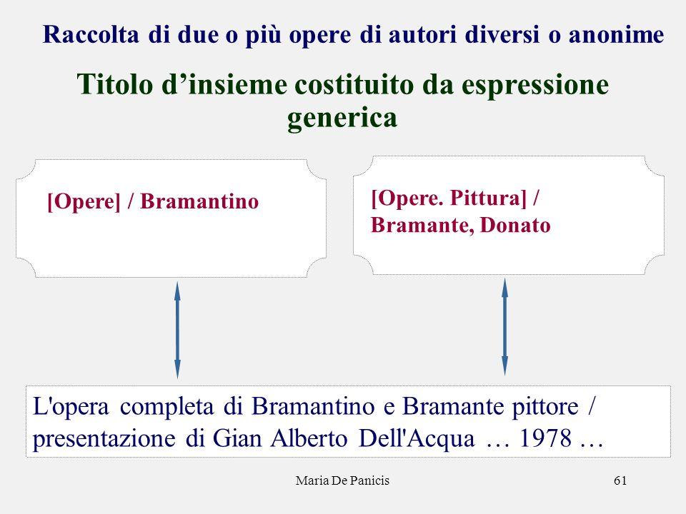 Maria De Panicis61 Raccolta di due o più opere di autori diversi o anonime Titolo dinsieme costituito da espressione generica L'opera completa di Bram