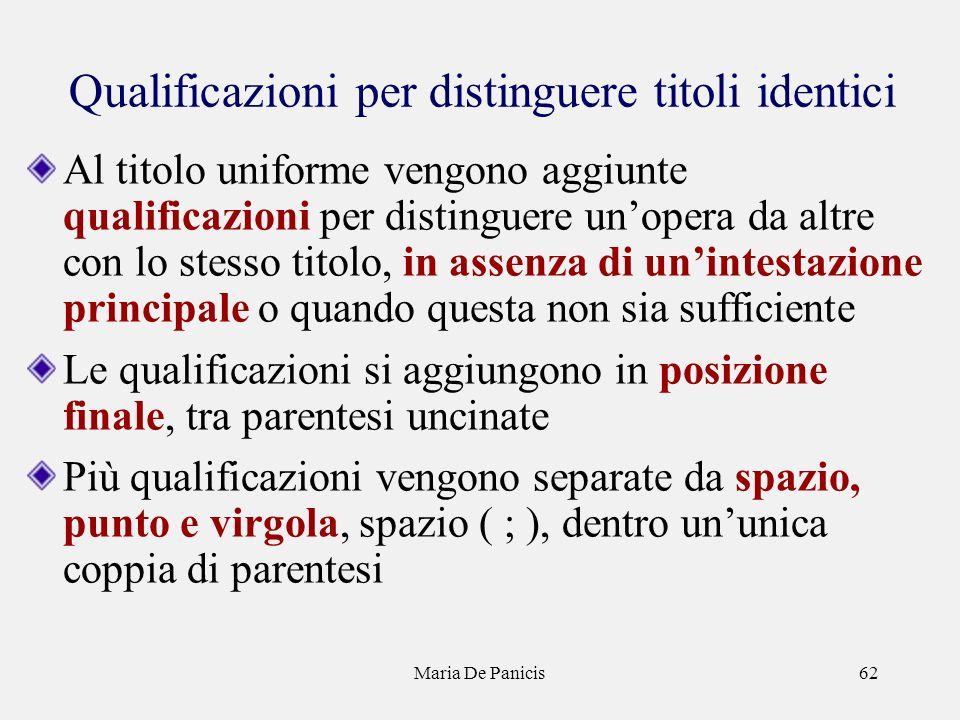 Maria De Panicis62 Qualificazioni per distinguere titoli identici Al titolo uniforme vengono aggiunte qualificazioni per distinguere unopera da altre