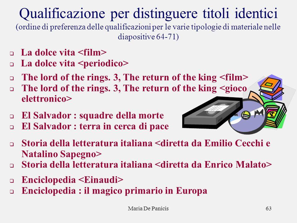 Maria De Panicis63 Qualificazione per distinguere titoli identici (ordine di preferenza delle qualificazioni per le varie tipologie di materiale nelle diapositive 64-71) La dolce vita The lord of the rings.