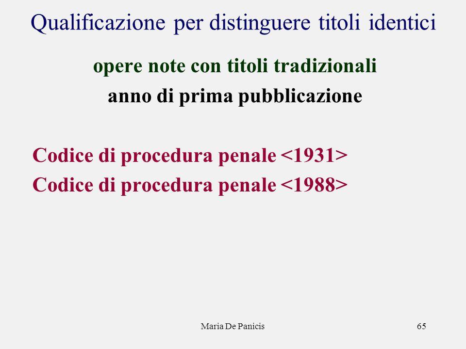 Maria De Panicis65 Qualificazione per distinguere titoli identici opere note con titoli tradizionali anno di prima pubblicazione Codice di procedura penale