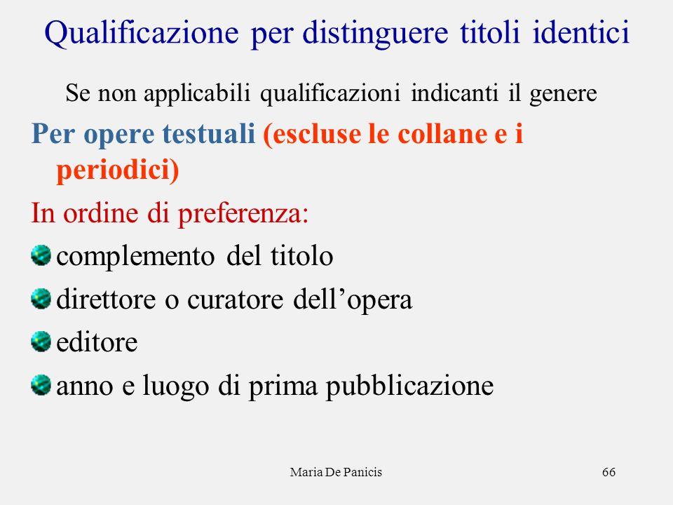 Maria De Panicis66 Qualificazione per distinguere titoli identici Se non applicabili qualificazioni indicanti il genere Per opere testuali (escluse le