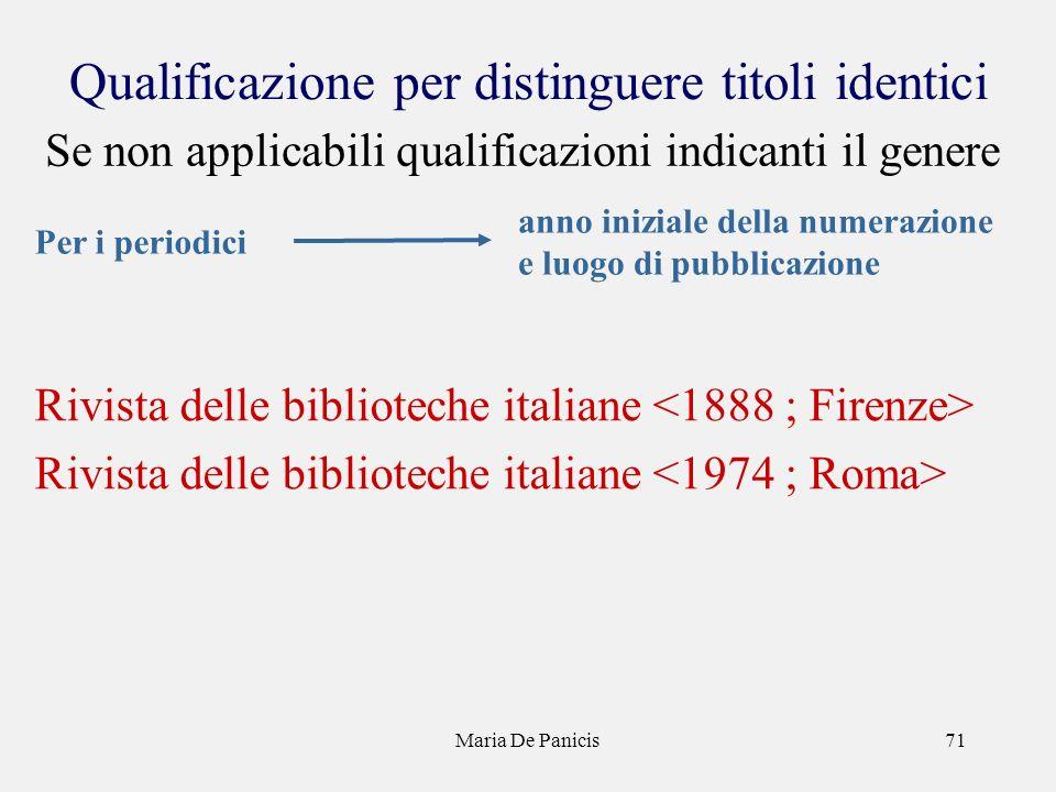Maria De Panicis71 Qualificazione per distinguere titoli identici Rivista delle biblioteche italiane Per i periodici anno iniziale della numerazione e luogo di pubblicazione Se non applicabili qualificazioni indicanti il genere