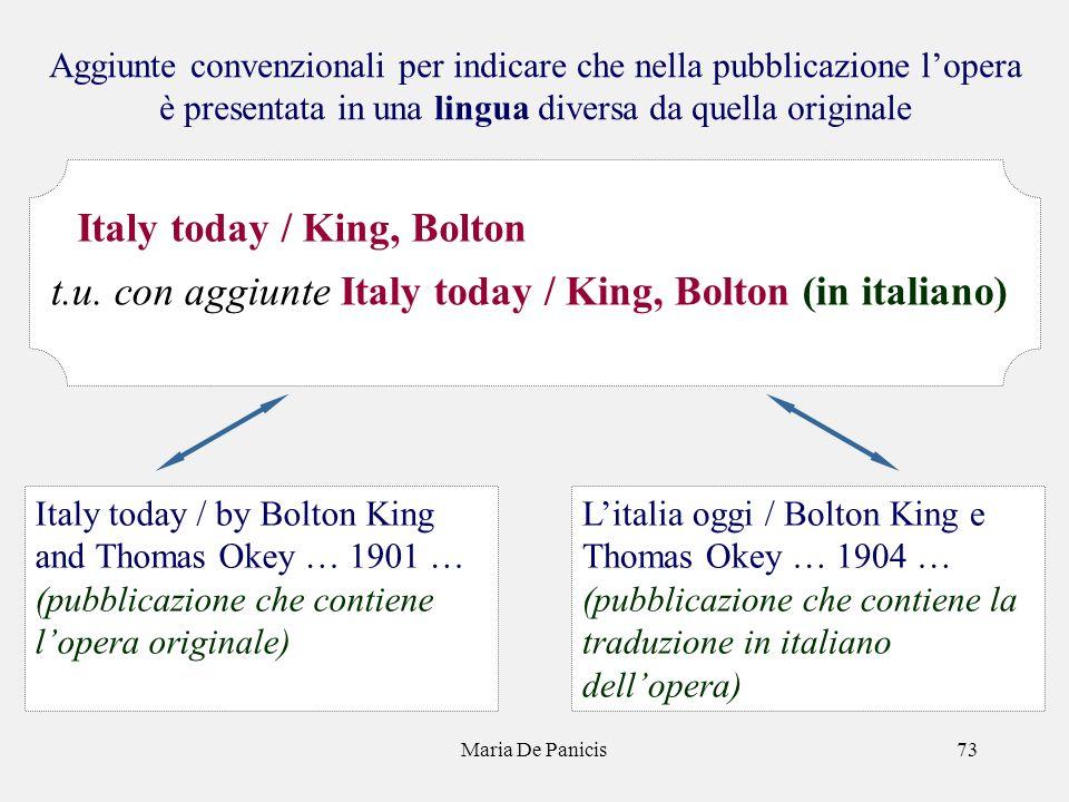 Maria De Panicis73 Aggiunte convenzionali per indicare che nella pubblicazione lopera è presentata in una lingua diversa da quella originale Litalia o
