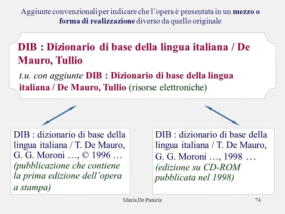 Maria De Panicis74 Aggiunte convenzionali per indicare che lopera è presentata in un mezzo o forma di realizzazione diverso da quello originale DIB : dizionario di base della lingua italiana / T.