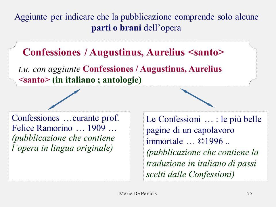 Maria De Panicis75 Aggiunte per indicare che la pubblicazione comprende solo alcune parti o brani dellopera Le Confessioni … : le più belle pagine di un capolavoro immortale … ©1996..