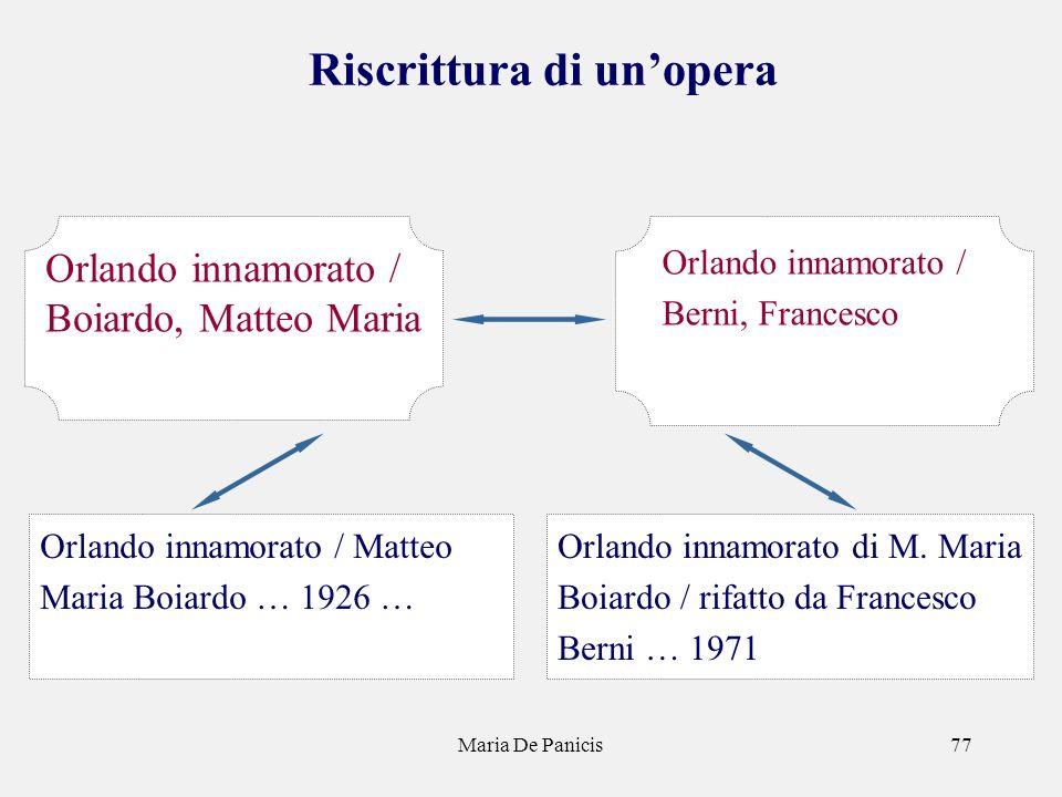 Maria De Panicis77 Riscrittura di unopera Orlando innamorato di M. Maria Boiardo / rifatto da Francesco Berni … 1971 Orlando innamorato / Berni, Franc