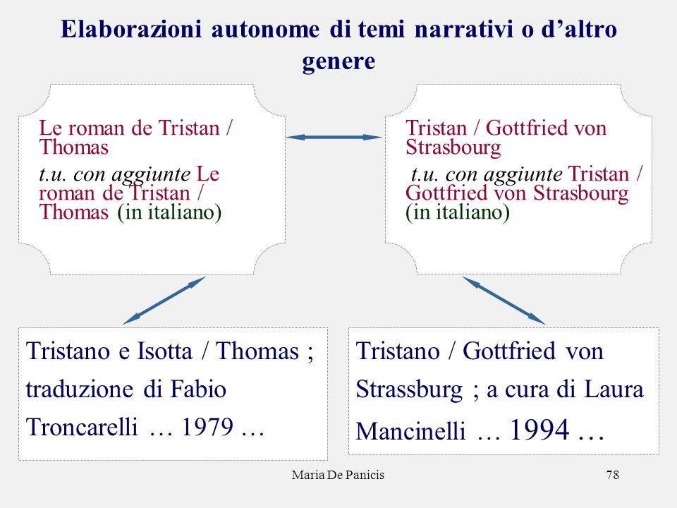Maria De Panicis78 Elaborazioni autonome di temi narrativi o daltro genere Tristano / Gottfried von Strassburg ; a cura di Laura Mancinelli … 1994 … T