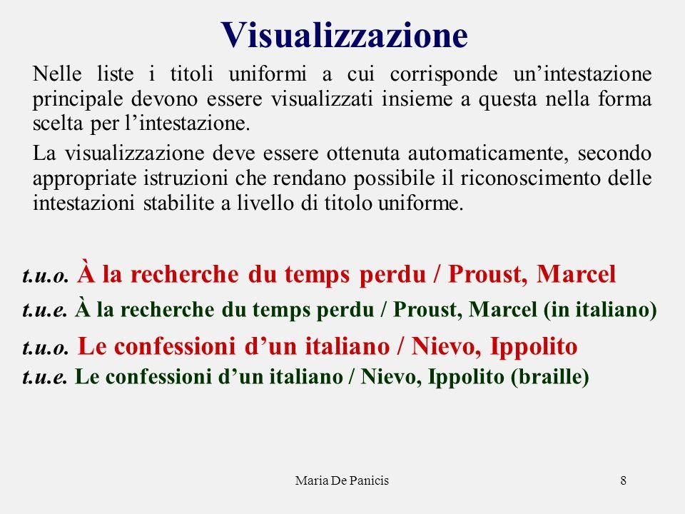 Maria De Panicis8 Visualizzazione Nelle liste i titoli uniformi a cui corrisponde unintestazione principale devono essere visualizzati insieme a questa nella forma scelta per lintestazione.