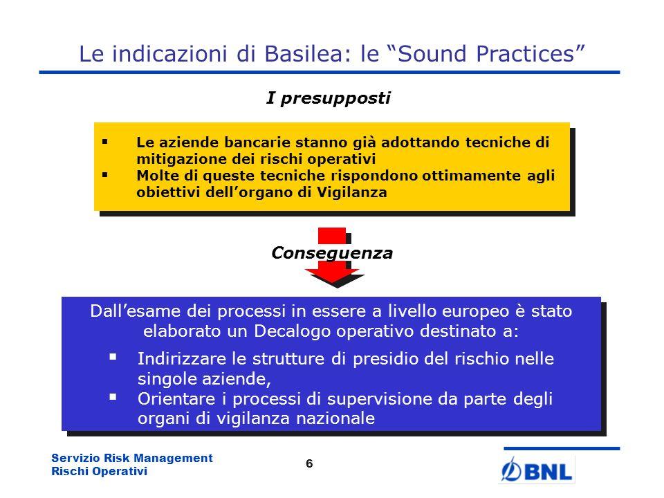 Servizio Risk Management Rischi Operativi 5 Gli aspetti Organizzativi di presidio del rischio Soluzione necessità di introdurre strutture organizzativ
