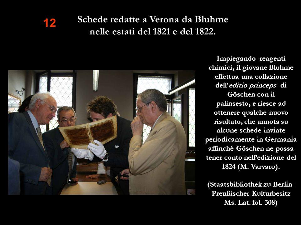 12 Impiegando reagenti chimici, il giovane Bluhme effettua una collazione delleditio princeps di Göschen con il palinsesto, e riesce ad ottenere qualc
