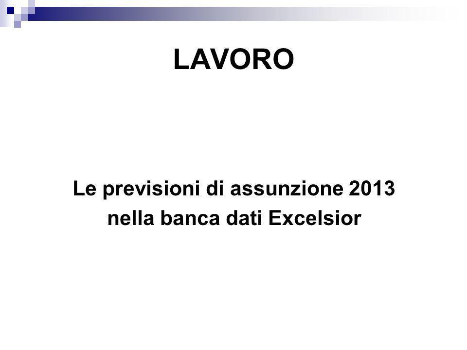 LAVORO Le previsioni di assunzione 2013 nella banca dati Excelsior